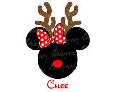 Disney Christmas Minnie Reindeer Printable Iron On or use as Disney Clip art by TheWallabyWay - Perfect for Mickey's Very Merry Christmas Party - DIY Disney Shirt