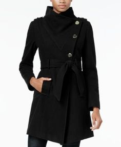 Guess Asymmetrical Belted Walker Coat - Black S Coats For Women, Clothes For Women, Stylish Coat, Junior Outfits, Autumn Winter Fashion, Fall Fashion, Winter Style, Work Fashion, Winter Outfits