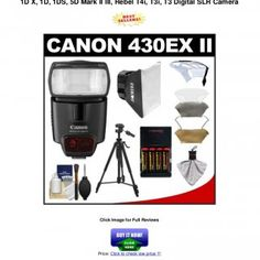 Canon Speedlite 430EX II Flash with Softbox + Bounce Diffuser +(4) Batteries & Charger + Tripod + Accesory Kit for EOS 60D, 7D,1D X, 1D, 1DS, 5D Mark II. http://slidehot.com/resources/canon-speedlite-430_ex_ii_flash_with_softbox__bounce_diffuser__4_batteries__charger__tripod__accesory_kit_for_eos_60d_7d_1d_x_1d_1ds_5d_mark_ii_iii_rebel_t4i_t3i_t3_digital_slr_camera.23063/