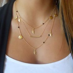 2015 new fashion hot gold silver chain beads leaves pendant jewelry multi layer necklace for women Gifts H0174