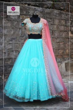 Beautiful design and color of this Lehenga will steal your Heart a perfect outfit for your special Occasion. Lovely sea blue color lehenga and blouse with pink color net duppata. They can customize the color and size as per your requirement.Product Code LHG-292To Order  : whatsapp +91 8142029190/ 9010906544 For Call: 8899840840 (IVR) . 19 July 2017