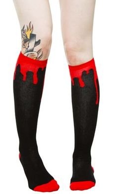 Bloody Hell Over The Knee Socks by Sourpuss