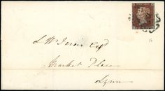 1841 1d. red-brown plate 16 JE, with very close to small margins, used on 1842 (Jan. 21) wrapper to Lynn, cancelled by a fair strike of the distinctive Norwich Maltese Cross, S.G. Spec. BS5ts.