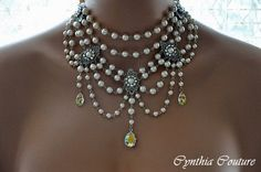 Bridal Necklace,Swarovski Crystal and Pearl Necklace,Beaded Necklace,Bib Style Necklace,Vintage Style Jewelry,Victorian Style,Swag,ROMANCE by cynthiacouture on Etsy https://www.etsy.com/listing/80428608/bridal-necklaceswarovski-crystal-and