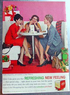 1962 Coca Cola Ad - Exceptional Advertisment Illustration Ephemera, Woman Chirstmas Shopping