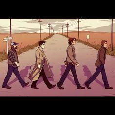#supernatural #snl #bobby singer #castiel #sam winhester #dean winchester #beatles #lonely road