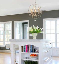 Beautiful kitchen island with useful and decorative storage!