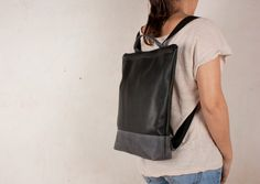 handmade leather backpack grey and black