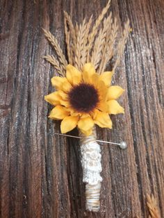 Rustic Sunflower Boutonnière,  Simple Country Beautiful