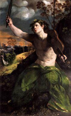 Apolo - Dossi, Dosso.  La pintura fue inspirada por la historia de Apolo y Daphne en las Metamorfosis de Ovidio: Apollo está cantando su amor por Daphne e interrumpe su actuación en el momento en que la ninfa se transforma en un árbol de laurel en el paisaje de la izquierda.