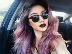 Different colors hairstyle, purples and pinks!