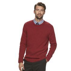 Men's Croft & Barrow® Classic-Fit 5gg Crewneck Sweater, Size: Large, Dark Red