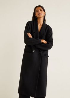 7f09593f Mango Unstructured Wool-Blend Coat Lana, Minimal Chic, Wool Blend, Double  Breasted