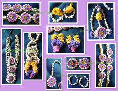 Flower jewellery made with real jasmine buds,pink and yellow rose flowers and kundan applique.