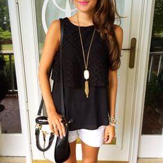 Southern Curls & Pearls: Black ruffle tank + white shorts + Kendra Scott necklace