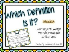 Which Definition Is It?  (Multiple Meaning Words w/ Context Clues) Freebie