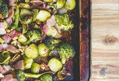The perfect side dish for your Easter dinner. Roasted brussels sprouts and broccoli with bacon and walnuts is my favorite way to make vegetables!