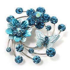 Fancy Butterfly And Flower Brooch (Sky Blue)