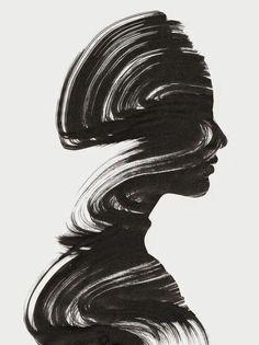 одиночество, чёрно-белое, грязно, нарисованное, рисунок, девушка, губы, шея, нос, профиль, женщины