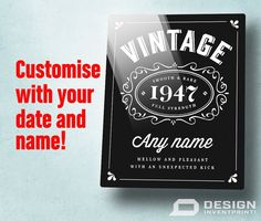 It's time to celebrate with Design, Invent' Print!'s original AND personalized 70th birthday vintage bourbon design, appearing on either a hardboard or Aluminum ChromaLuxe® panel.  You can really impress the birthday man or woman with the classic vintage bourbon look and feel we all know and love.  ChromaLuxe® is the worlds leading brand of high definition panels.  Through the printing process, our designs are infused directly onto specially coated sheets of Aluminum or hardboard with…