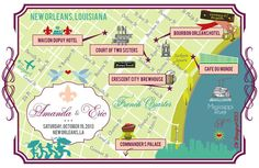 As Seen on STYLE ME PRETTY - New Orleans Wedding Map on Etsy, $270.00