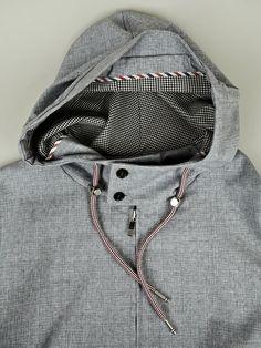 Thom Browne Men's Technical Windbreaker Parka in grey at oki-ni