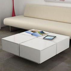 mesa de centro 4 cajones 75 - mesa blanca brillo