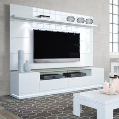 Manhattan Comfort Vanderbilt TV Stand and Cabrini Floating Wall TV Panel with LED Lights for TVs up to Multiple Colors, White Gloss Tv Stand And Panel, Wall Tv Stand, Tv Panel, Panel Bed, Living Room Tv, Living Room Modern, Small Living, Manhattan, Tv Wanddekor