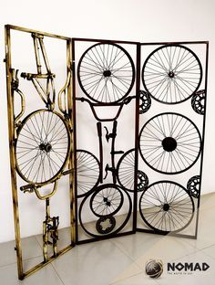 #Biombo hecho de bicicletas recicladas @Screens #Hogar. This is wild!  Recycled pieces of Bicycle.  Funk in Muebles Nomad MX.