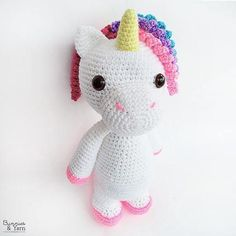 ***THIS IS A CROCHET PATTERN, NOT THE ACTUAL TOY*** English Pattern Only. This pattern uses US Crochet Terms. The file contains a chart to show the conversions to UK Crochet Terms. Make your own Mimi the Unicorn with this CROCHET PATTERN. The pattern includes instructions on how to