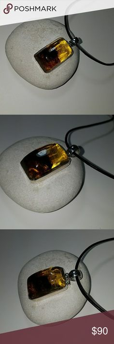 Freeshaped Amber Pendant Handcrafted Amber Pendant Necklace, 925 Sterling Silver Jewelry Necklaces