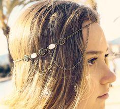 Hair Chain Hair Jewelry Front Chain Bronze by SlaveBraceletAndMore