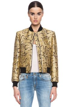 Stella McCartney Python Print Poly-Blend Bomber in Chamomile class=