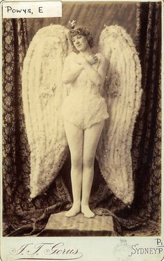Miss Gertrude Powys as The Angel in the pantomime Sleeping Beauty at the Theatre Royal, 1886 / photographer J. Gorus, Sydney via State Library of New South Wales Vintage Photos Women, Antique Photos, Vintage Pictures, Vintage Photographs, Vintage Images, Old Photos, Pantomime, My Demons, Angels And Demons