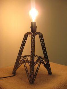 Items similar to Erector Set Lamp on Etsy Iron Furniture, Upcycled Furniture, Dieselpunk, Candelabra, Bridges, Lamp Light, Chandeliers, Creative Ideas, Repurposed