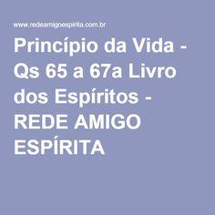 Princípio da Vida - Qs 65 a 67a Livro dos Espíritos - REDE AMIGO ESPÍRITA