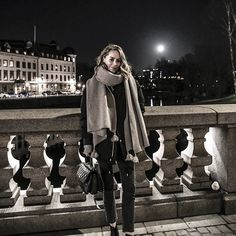 Gothenburg Nights. Our new @aninebingofficial Lenny Scarf is keeping me warm & cozy, love it so much