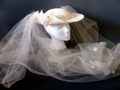 1980s Wedding veil/hat
