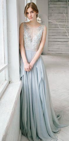 Dusty blue wedding gown