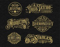Collection of hand-drawn lettering& typography designs made in 2015 and beggining of 2016 Logos Vintage, Vintage Logo Design, Vintage Typography, Typography Logo, Graphic Design Typography, Lettering Design, Vintage Style, Typography Alphabet, Vintage Graphic