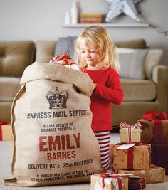 Personalized Santa Sacks (OMG love it!) Especially for kids with two families. If its the year your child wakes up with the other family, this is a nice way to show that Santa dropped off a sack of toys at your house as well :)
