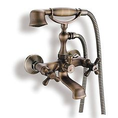 Antique Inspired Tub Faucet with Hand Shower (Antique Brass Finish) – AUD $ 112.15