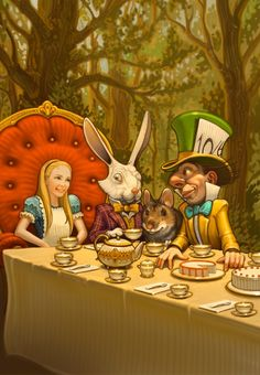 ALICE IN WONDERLAND. Alice with the Mad Hatter. The White Rabbit needs to step aside--exit the picture #GREGCALL