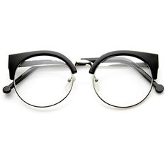 Indie Hipster Retro Round Cat Eye Clear Lens Glasses 9351 | zeroUV