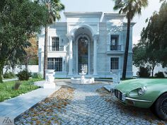White Palace on Behance Classic House Exterior, Classic House Design, House Front Design, White Mansion, Dream Mansion, Modern Mansion, Dream Homes, Fachada Colonial, Pool House Plans