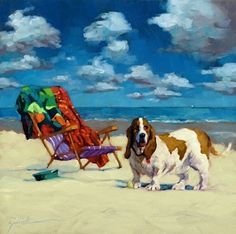"How can you not love a basset hound on the beach? ""Oh the Good Life"" - Original Fine Art for Sale - © Karin Jurick Beach Art, Beach Canvas, Dog Beach, Nautical Art, Painting People, Animal Paintings, Beach Paintings, Fine Art Gallery, Dog Art"