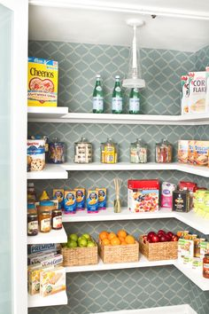 Why does everyone forget about the pantry?! I need to organize/decorate mine like this when I have a walk-in Small Pantry Organization, Pantry Storage, Kitchen Storage, Pantry Ideas, Kitchen Shelves, Organization Ideas, Storage Ideas, Pantry Makeover, Kitchen Pantry Design