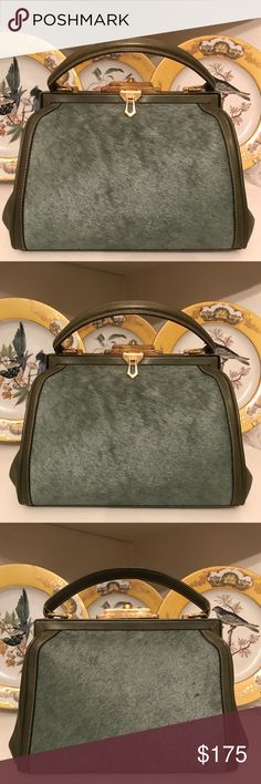 "Vintage Pony Hair Doctors Handbag Vintage Green Pony Hair Doctors Handbag. Excellent Vintage Condition. Gold-Tone Hardware. Made in Italy. Dimensions: 10"" (L) x 4.5"" (W) x 8"" (H). Fabulous Bag! Vintage Bags Satchels"