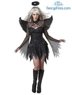 c7ad31276f New Arrival Women Adult Fallen Angel Costume Black Angel Party Dress Sexy  Adult Halloween Costumes for Women Fantasias feminina