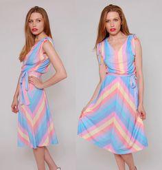 Vintage 70s Pastel Chevron Stripe Sun Dress  by LotusvintageNY